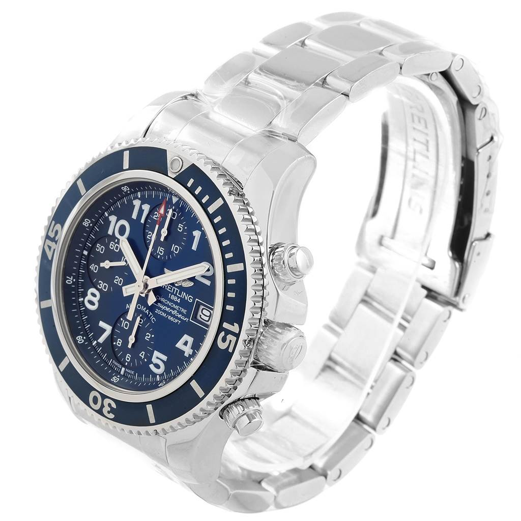 17728 Breitling Superocean Chronograph 42 Blue Dial Mens Watch A13311 Unworn SwissWatchExpo
