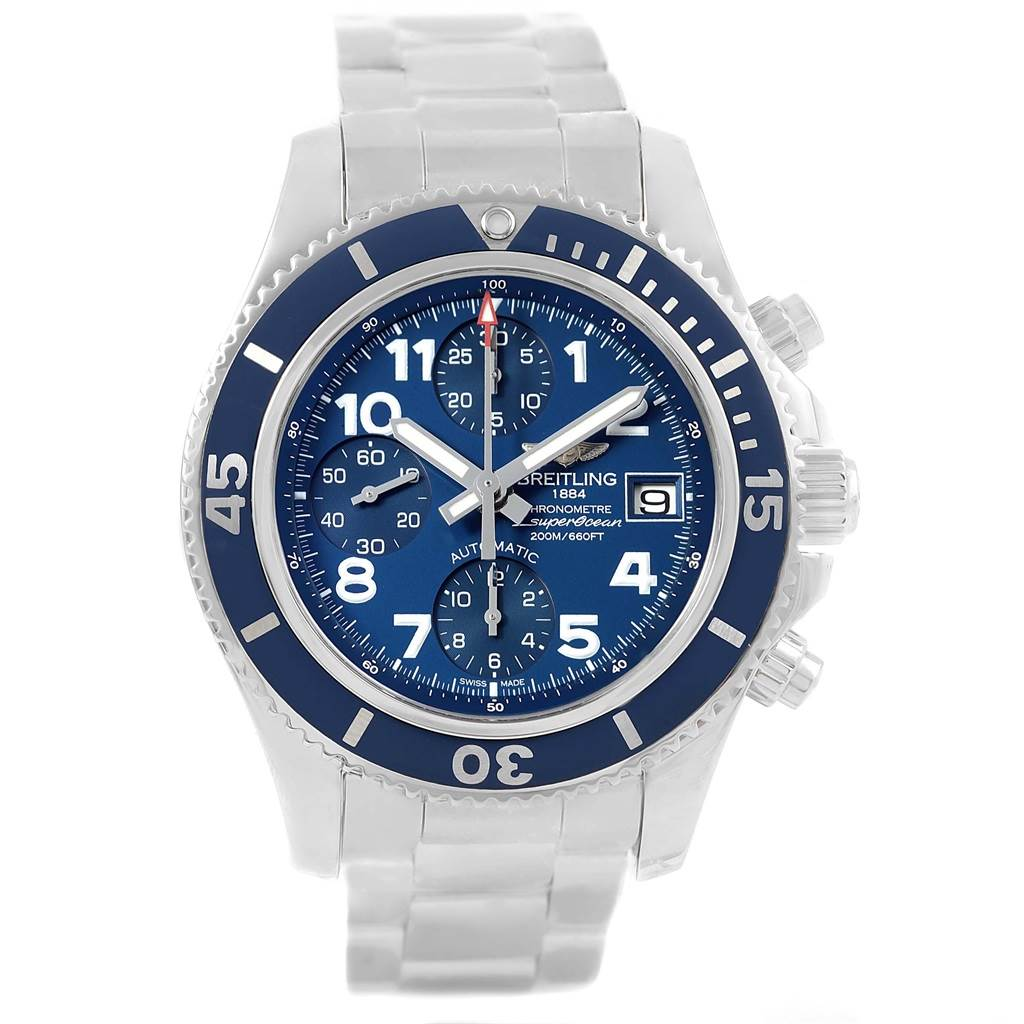 Breitling Superocean Chronograph 42 Blue Arabic Dial Watch A13311 Unworn SwissWatchExpo