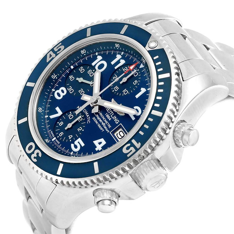 Breitling Superocean Chronograph 42 Blue Arabic Dial Watch A13311 Unworn SwissWatchExpo