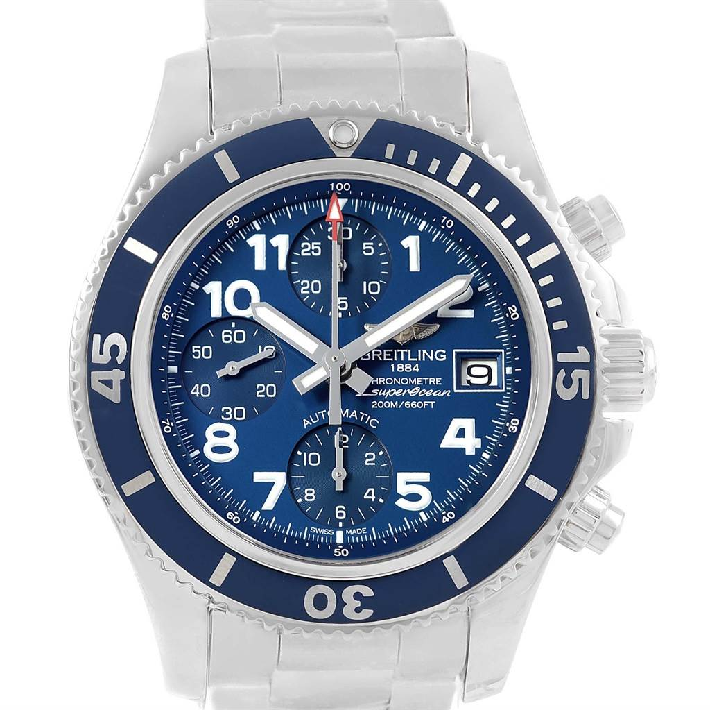 17828 Breitling Superocean Chronograph 42 Blue Arabic Dial Watch A13311 Unworn SwissWatchExpo