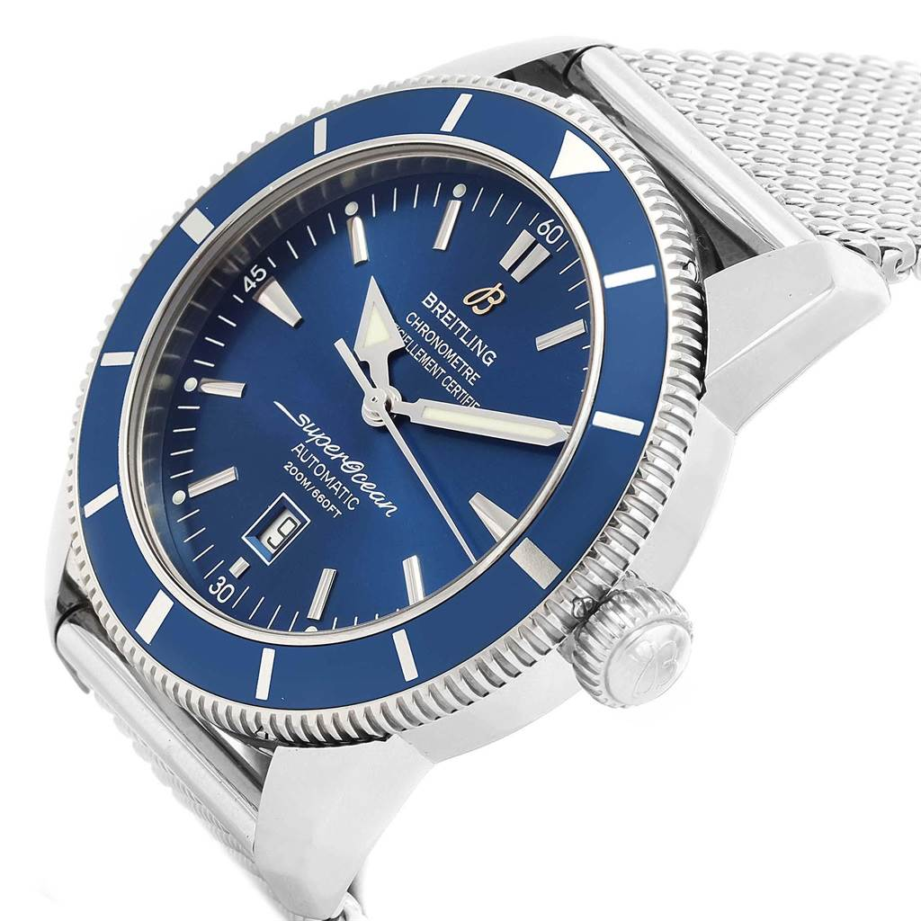 17850 Breitling Superocean Heritage 46 Mesh Bracelet Watch A17320 Box Papers SwissWatchExpo