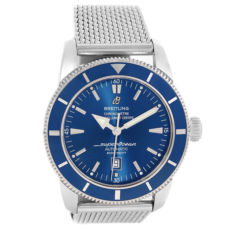 Breitling Superocean Heritage 46 Mesh Bracelet Watch A17320 Box Papers SwissWatchExpo