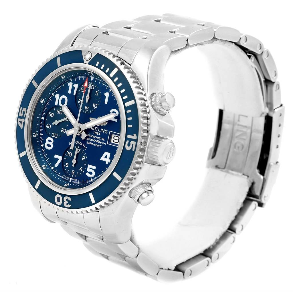 17831 Breitling Superocean Chronograph 42 Blue Dial Mens Watch A13311 Unworn SwissWatchExpo