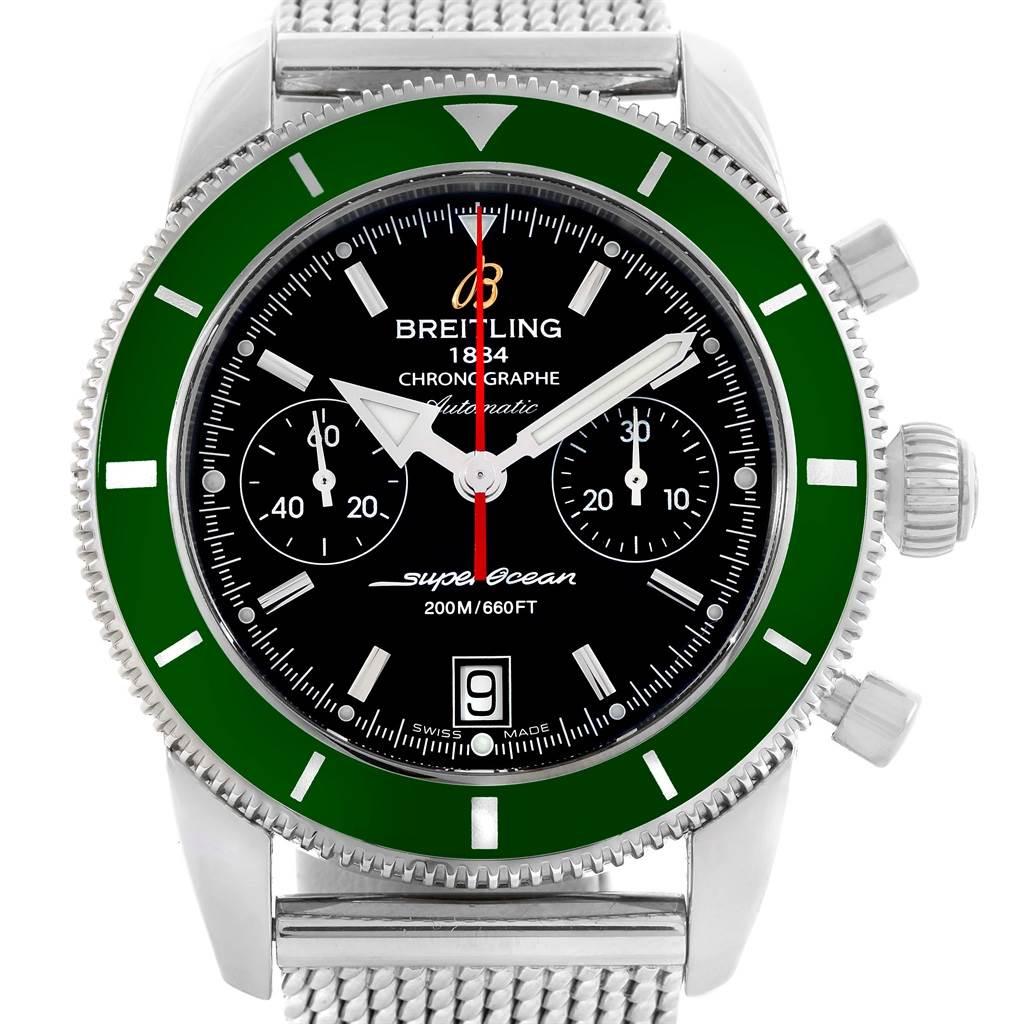 17967 Breitling SuperOcean Heritage 44 Green Bezel Chronograph Watch A23370 SwissWatchExpo