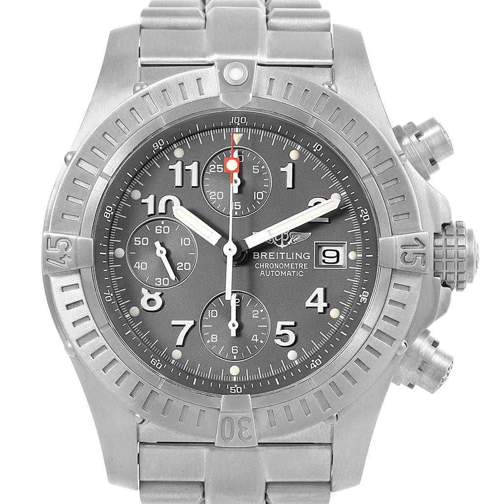 17965 Breitling Aeromarine Avenger Chronograph Titanium Watch E13360 Box Papers SwissWatchExpo