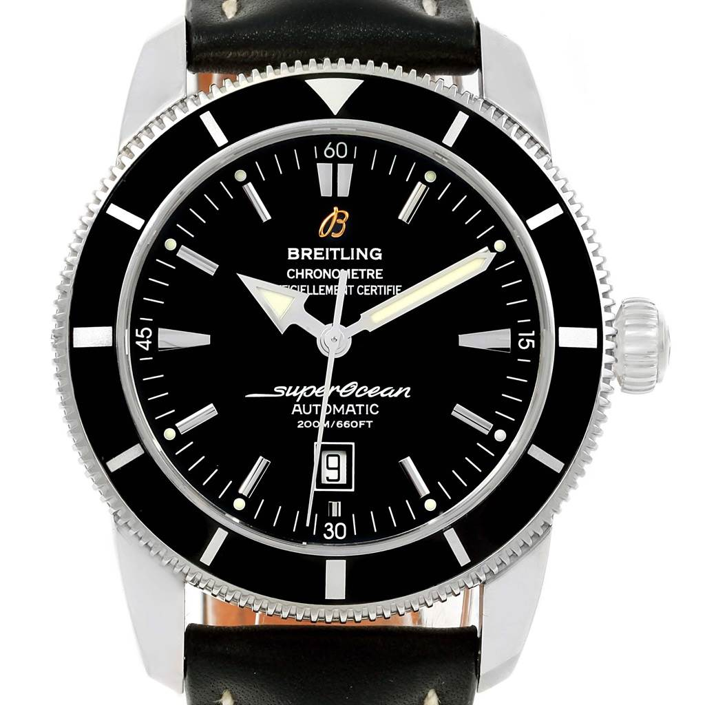 18125 Breitling Superocean Heritage 46 Black Dial Watch A17320 Box Papers SwissWatchExpo