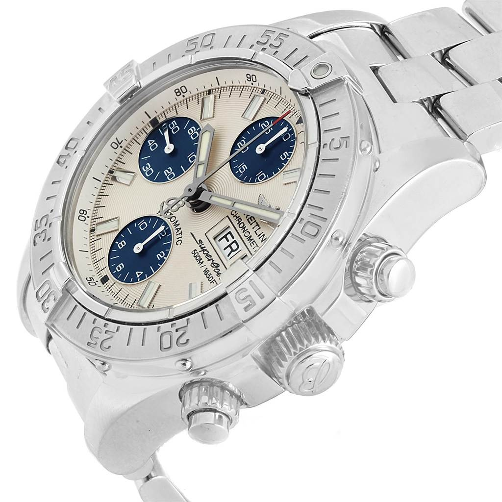 18128 Breitling Aeromarine Superocean Chrono Silver Blue Dial Watch A13340 SwissWatchExpo