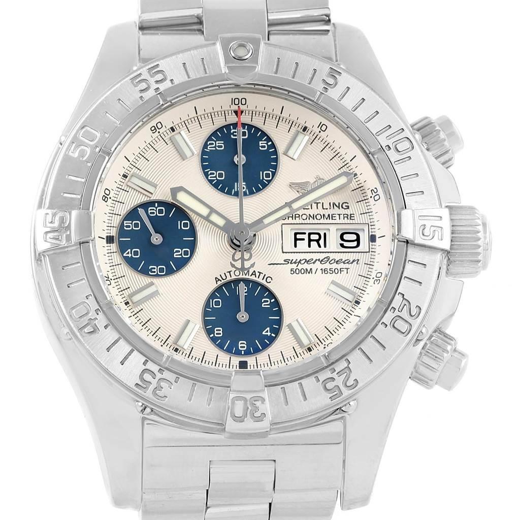 Breitling Aeromarine Superocean Chrono Silver Blue Dial Watch A13340 SwissWatchExpo