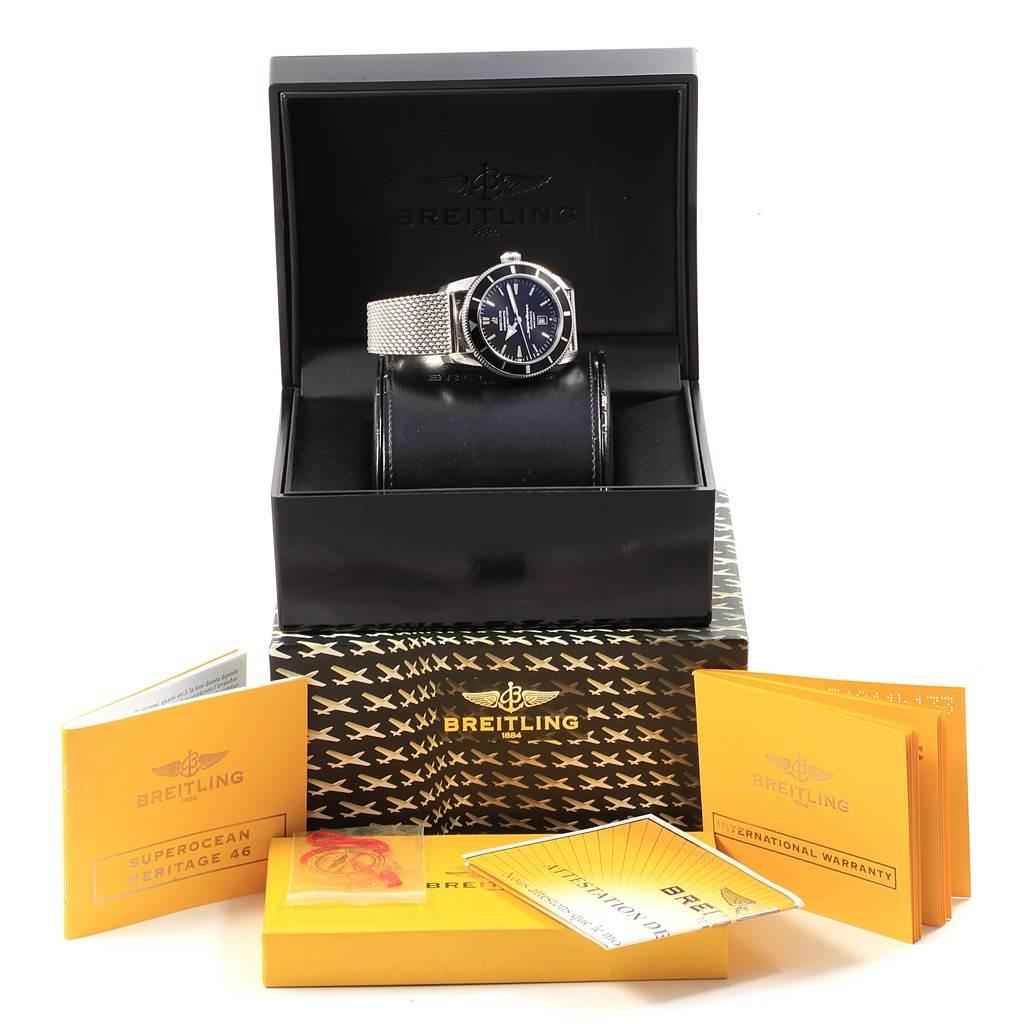 18430 Breitling Superocean Heritage 42 Black Dial Mesh Bracelet Watch A17320 SwissWatchExpo