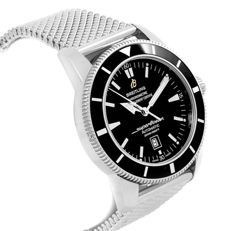 Breitling Superocean Heritage 42 Black Dial Mesh Bracelet Watch A17320 SwissWatchExpo