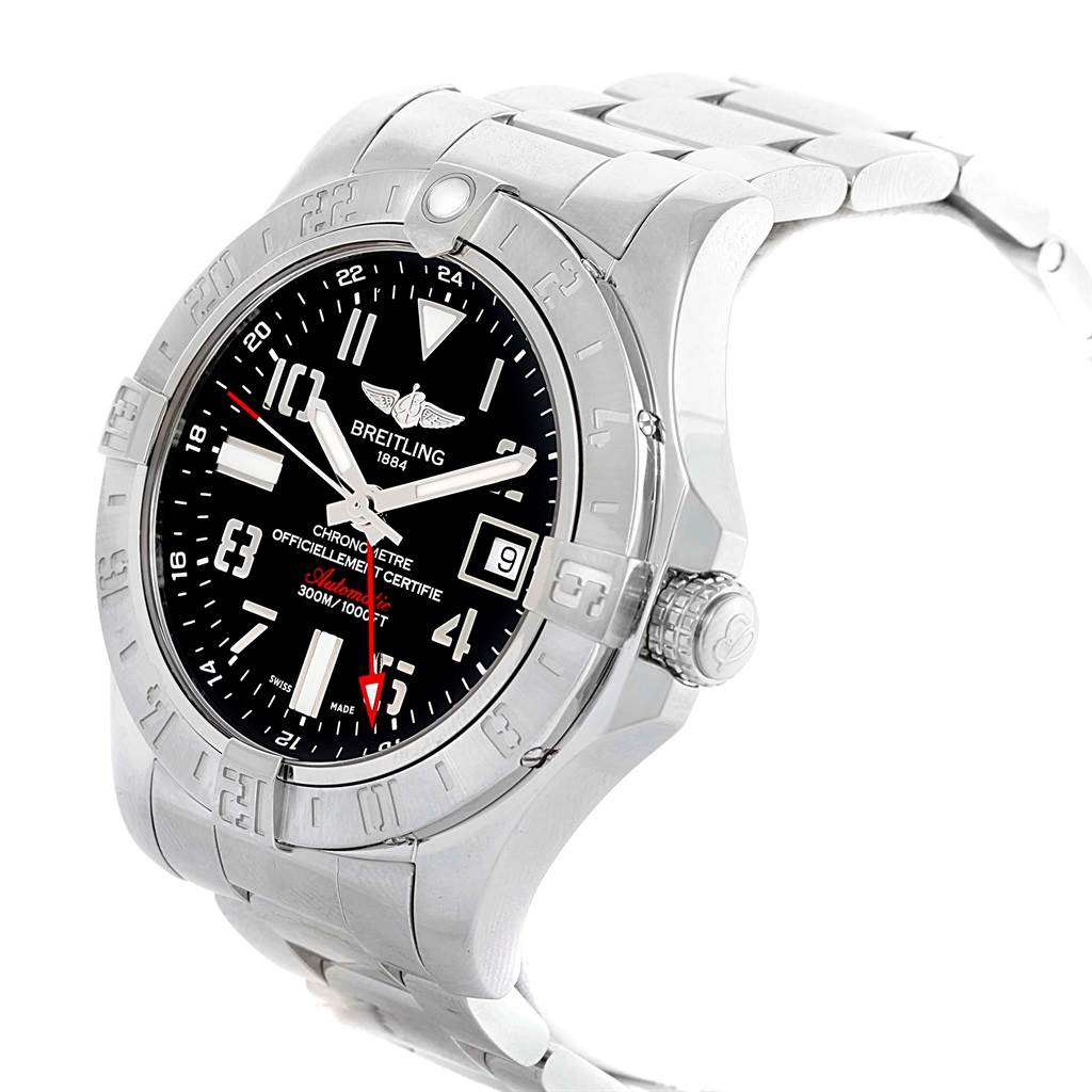 Breitling Aeromarine Avenger II GMT Black Dial Steel Mens Watch A32390 SwissWatchExpo