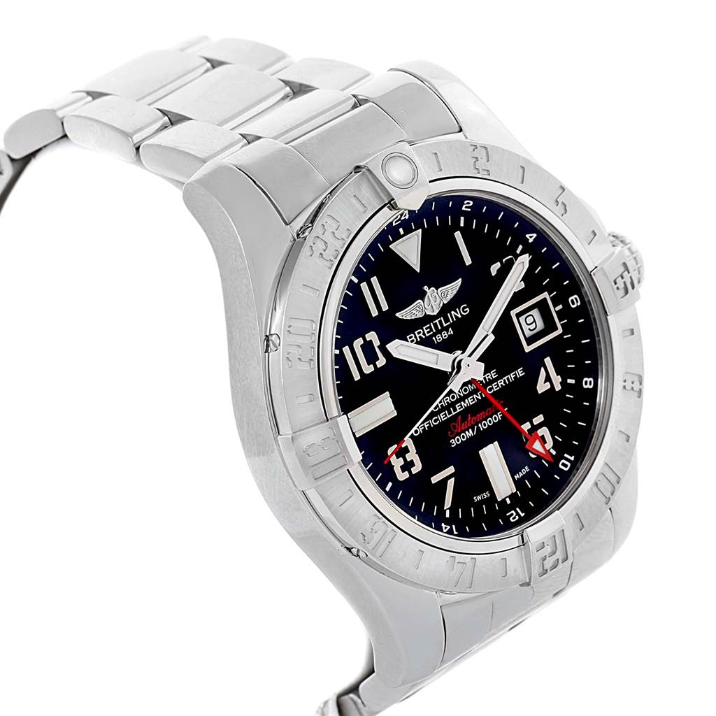 18476 Breitling Aeromarine Avenger II GMT Black Dial Steel Mens Watch A32390 SwissWatchExpo
