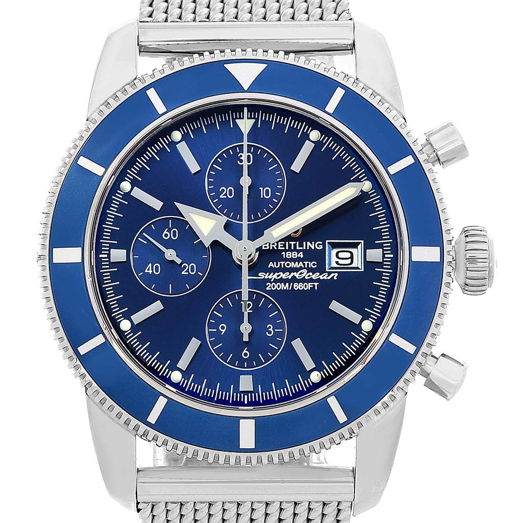 18077 Breitling SuperOcean Heritage Chronograph 46 Blue Dial Watch A13320 SwissWatchExpo