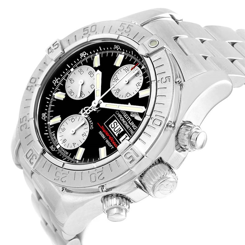 Breitling Aeromarine Superocean Black Dial Mens Watch A13340 Box SwissWatchExpo