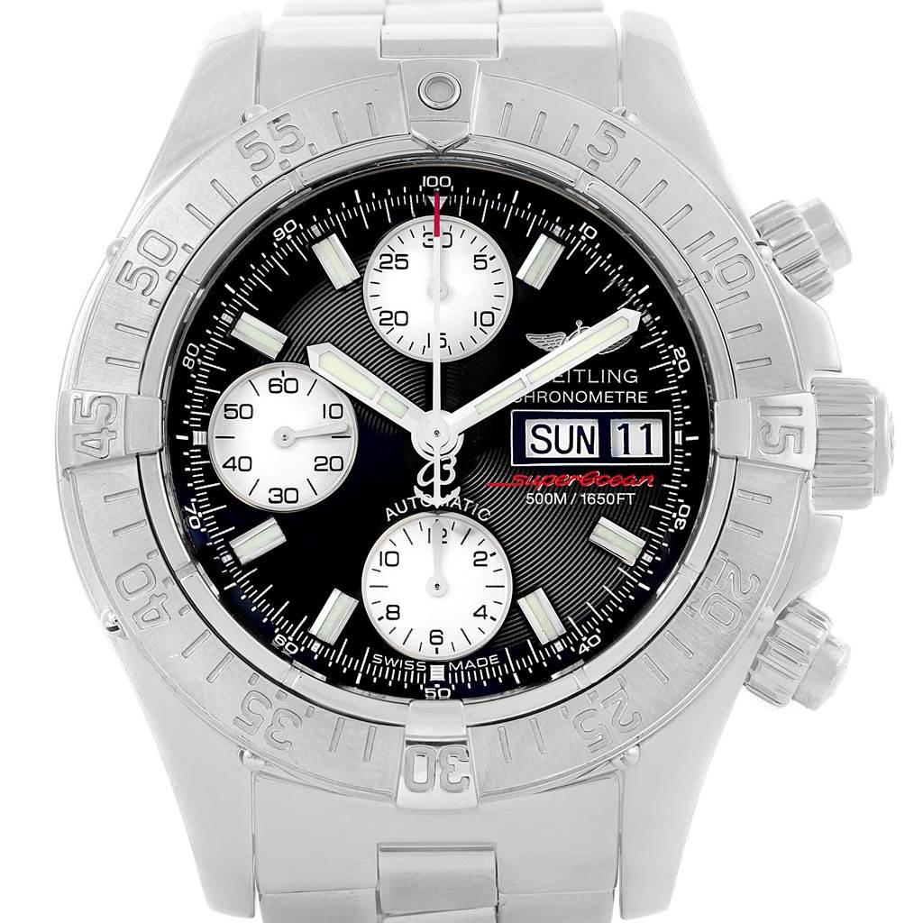 18448 Breitling Aeromarine Superocean Black Dial Mens Watch A13340 Box SwissWatchExpo