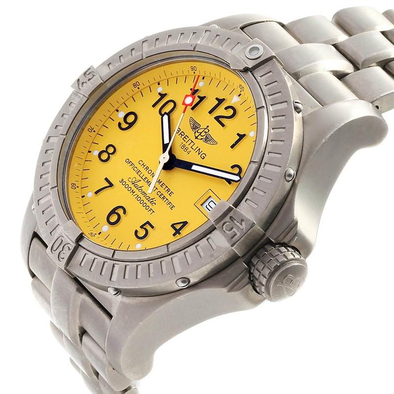 Breitling Avenger Seawolf Yellow Dial Titanium Watch E17370 Box Papers SwissWatchExpo