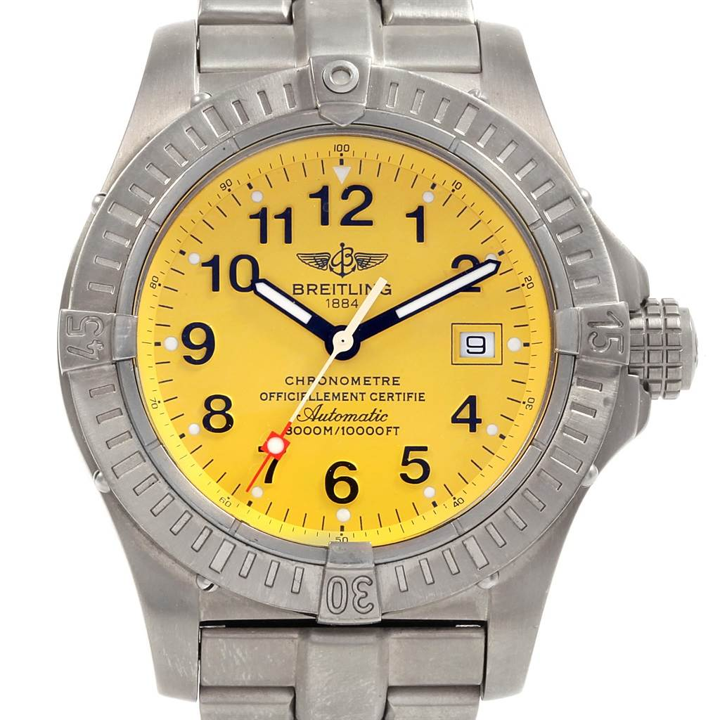 18229 Breitling Avenger Seawolf Yellow Dial Titanium Watch E17370 Box Papers SwissWatchExpo