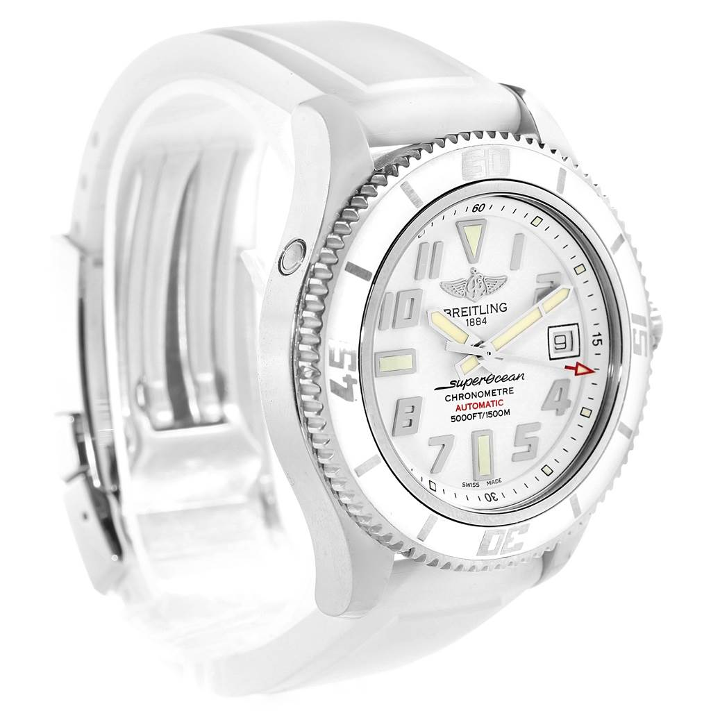 18046 Breitling Superocean 42 White Dial Rubber Strap Watch A17364 Box Papers SwissWatchExpo