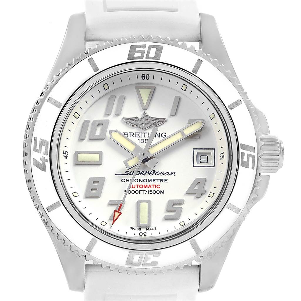 Breitling Superocean 42 White Dial Rubber Strap Watch A17364 Box Papers SwissWatchExpo
