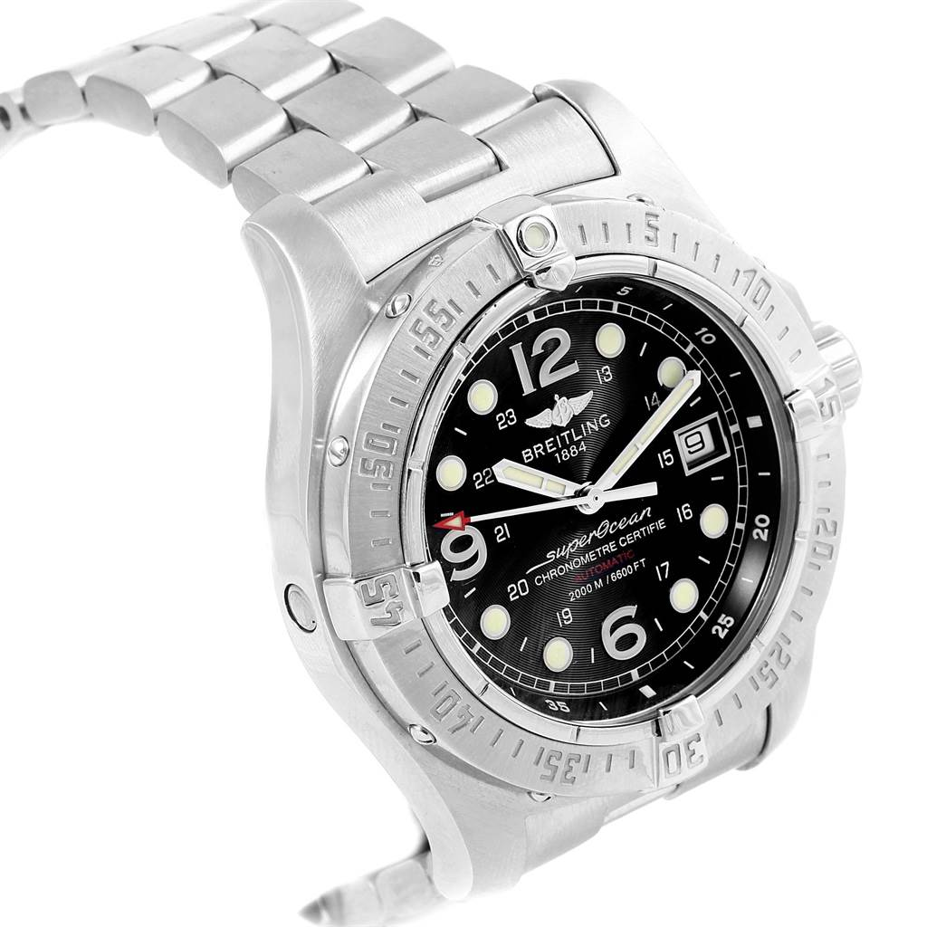 18069 Breitling Aeromarine Superocean Steelfish Black Dial Watch A17390 SwissWatchExpo