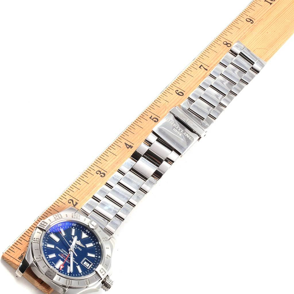 Breitling Aeromarine Avenger II GMT Blue Dial Watch A32390 Box Papers SwissWatchExpo