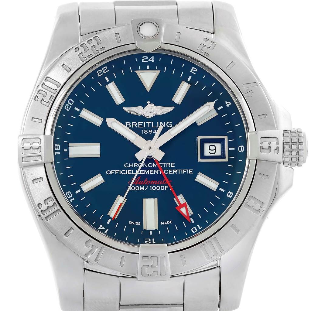 18557 Breitling Aeromarine Avenger II GMT Blue Dial Watch A32390 Box Papers SwissWatchExpo