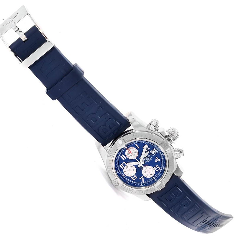 Breitling Aeromarine Super Avenger Blue Dial Rubber Strap Watch A13381 SwissWatchExpo