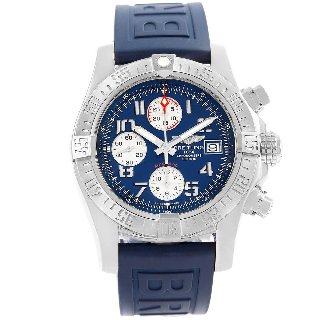 18130 Breitling Aeromarine Super Avenger Blue Dial Rubber Strap Watch A13381 SwissWatchExpo