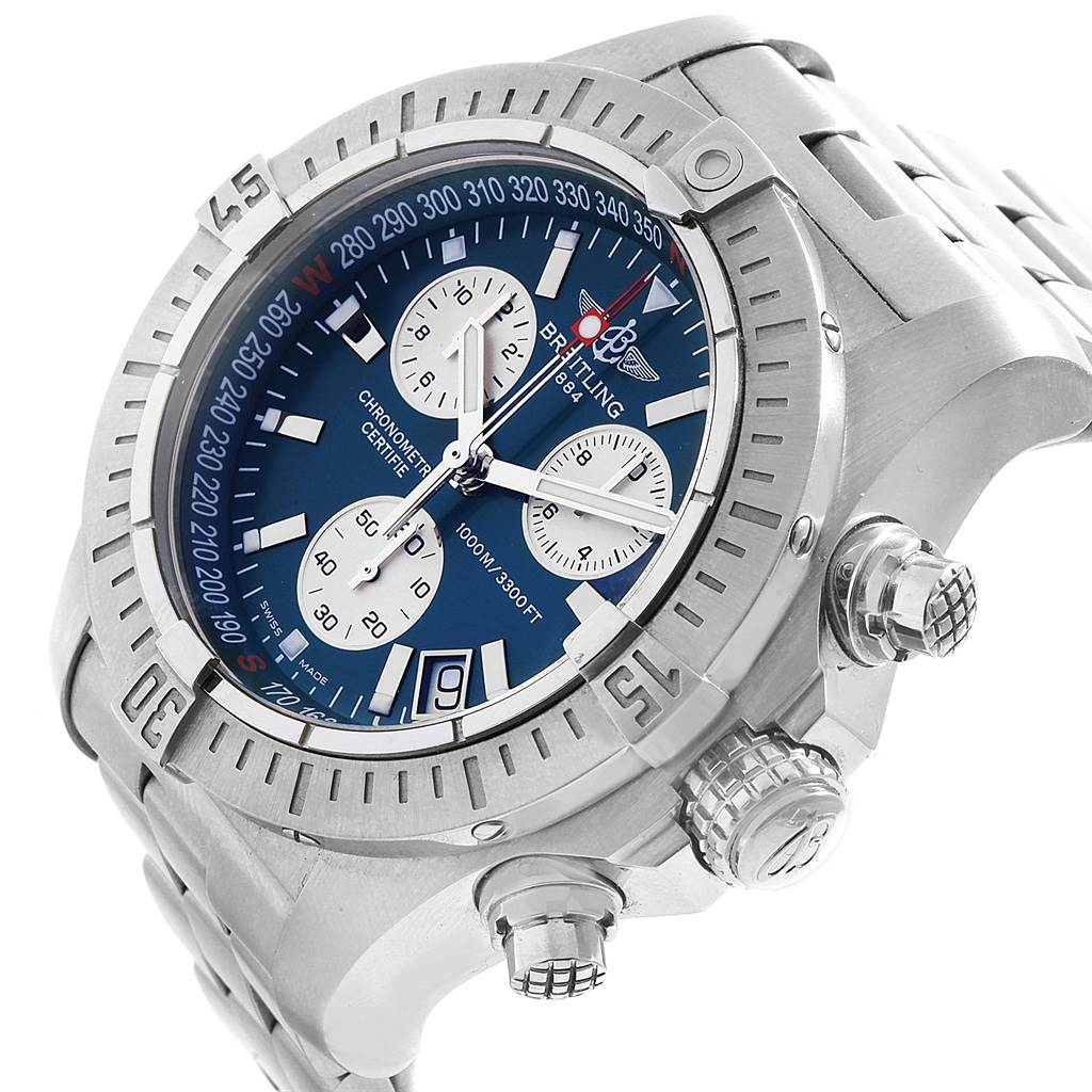 19257 Breitling Avenger Seawolf Blue Dial Mens Watch A73390 Box Papers SwissWatchExpo