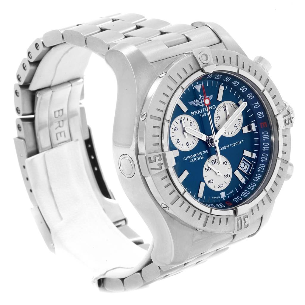 19257 Breitling Avenger Seawolf Blue Dial Steel Mens Watch A73390 Box Papers SwissWatchExpo