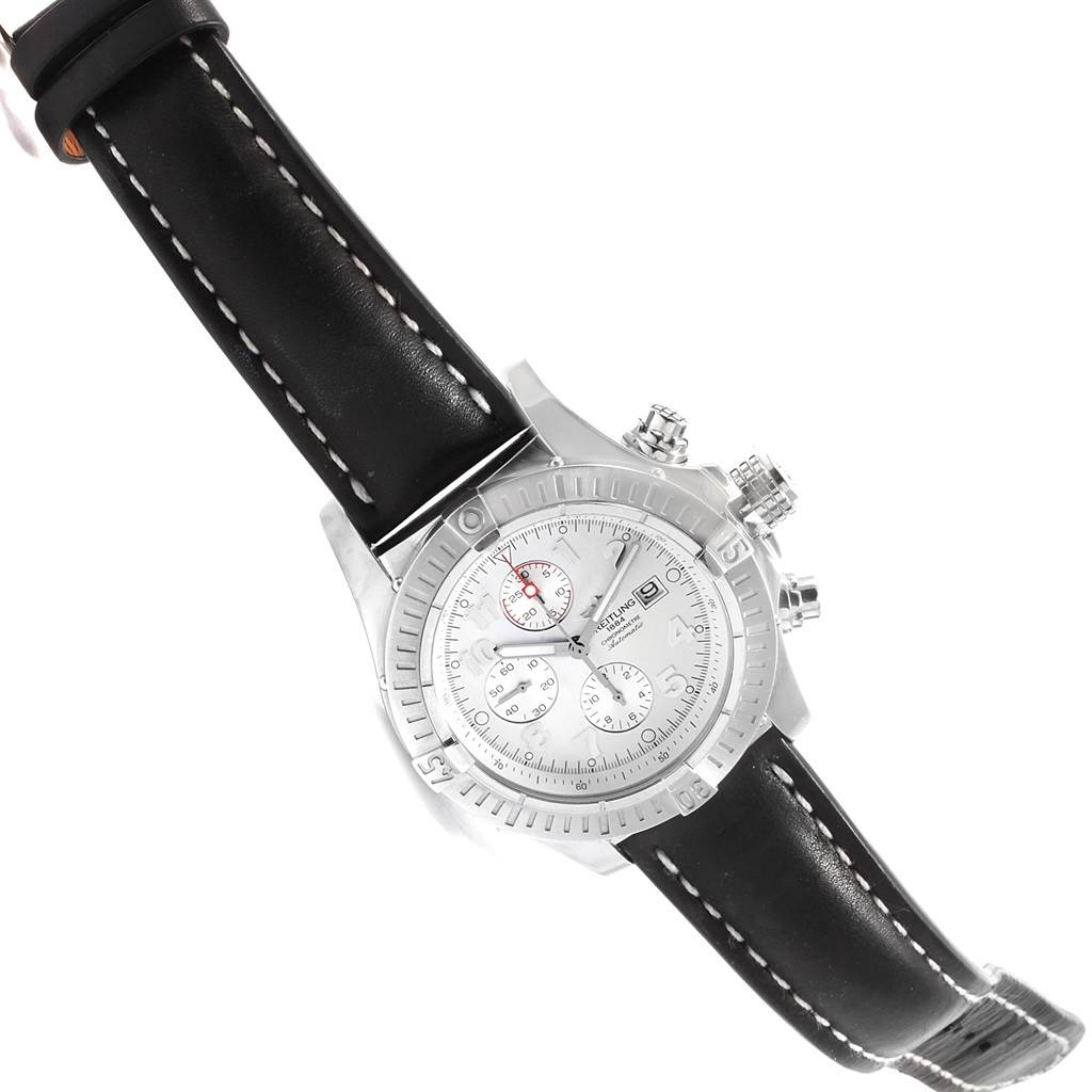 Breitling Aeromarine Super Avenger White Dial Black Strap Watch A13370 SwissWatchExpo