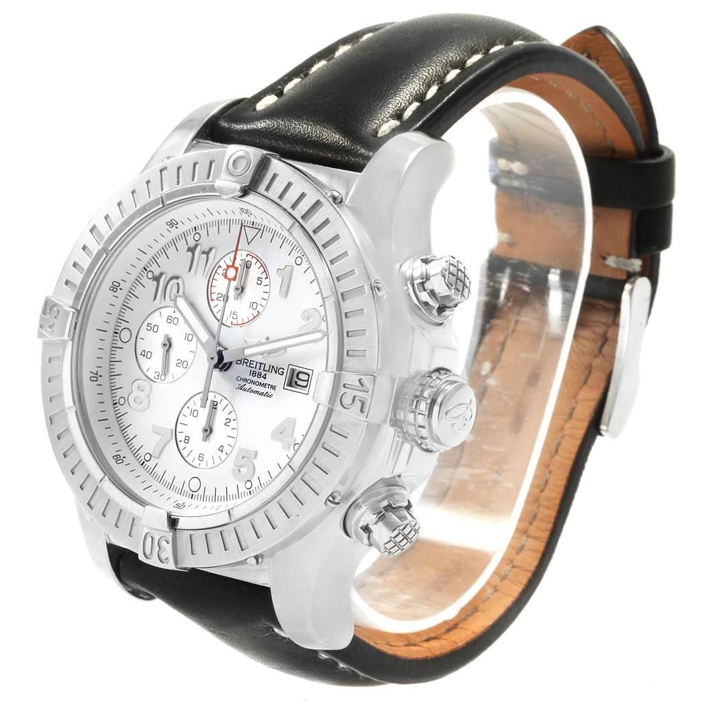 19315 Breitling Aeromarine Super Avenger White Dial Black Strap Watch A13370 SwissWatchExpo