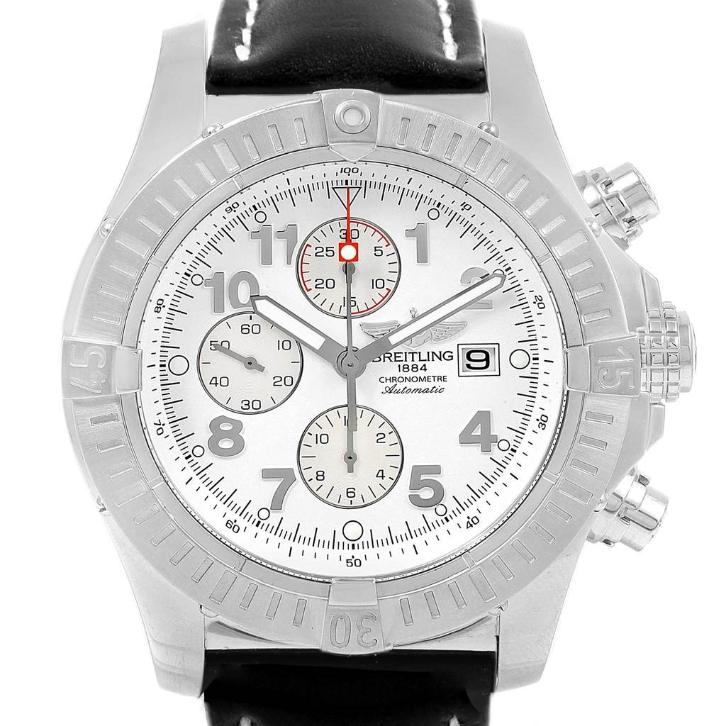 19315 Breitling Aeromarine Super Avenger White Dial Black Strap Watch A13370 SwissWatchExpo