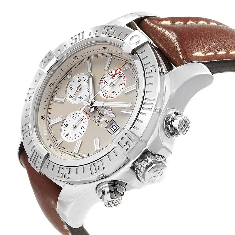Breitling Aeromarine Super Avenger Brown Strap Watch A13371 Box Papers SwissWatchExpo
