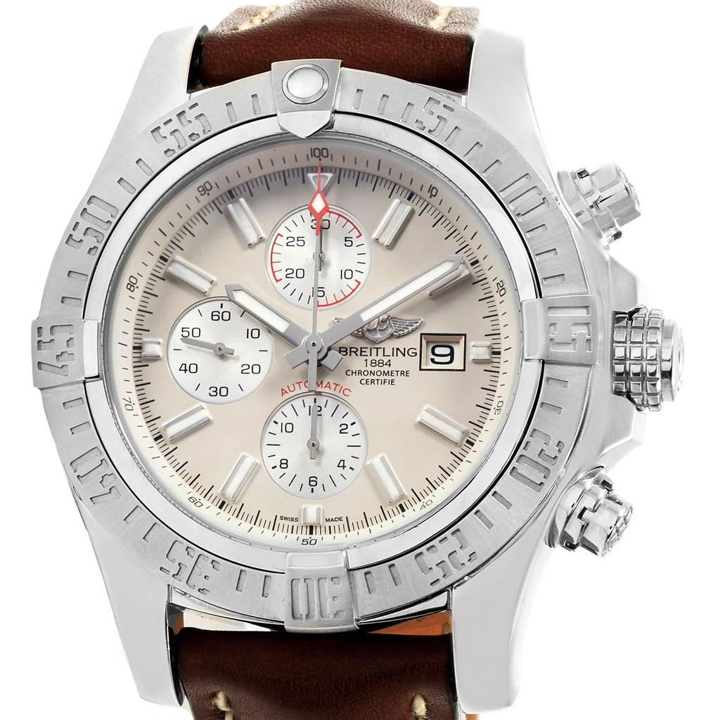 19349 Breitling Aeromarine Super Avenger Brown Strap Watch A13371 Box Papers SwissWatchExpo