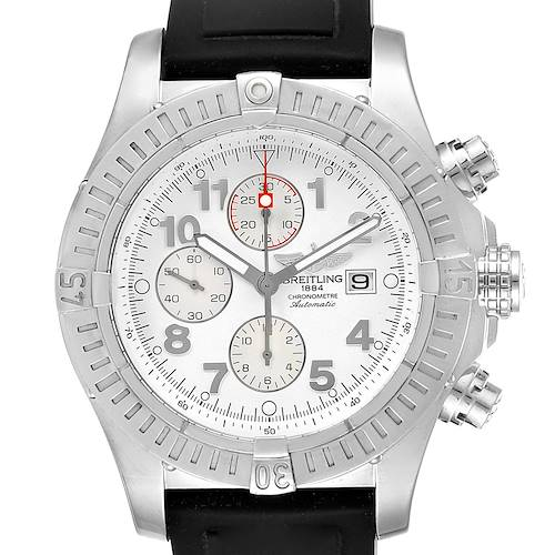 Photo of Breitling Aeromarine Super Avenger White Dial Rubber Strap Watch A13370