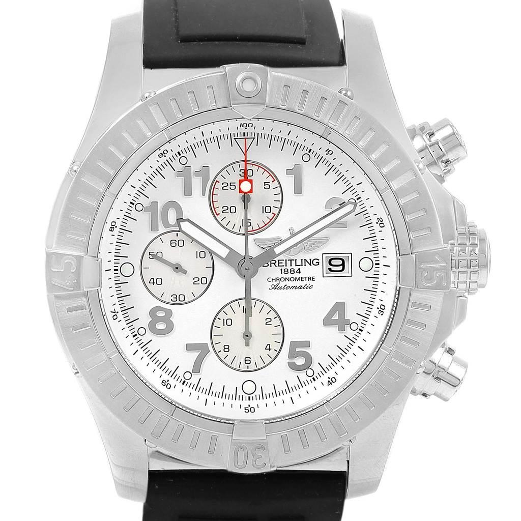 19314 Breitling Aeromarine Super Avenger White Dial Rubber Strap Watch A13370 SwissWatchExpo