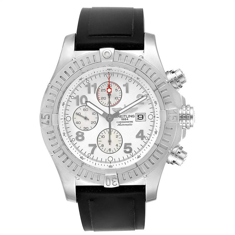 Breitling Aeromarine Super Avenger White Dial Rubber Strap Watch A13370 SwissWatchExpo