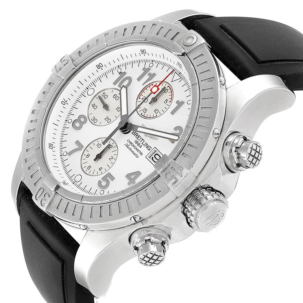 Breitling Aeromarine Super Avenger White Dial Rubber Strap Watch A13370 SwissWatchExpo