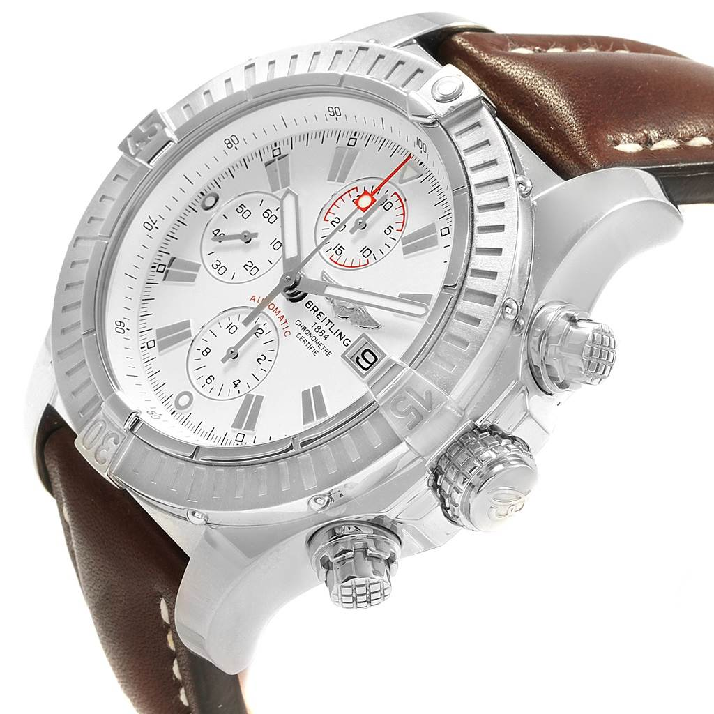 19347 Breitling Aeromarine Super Avenger White Dial Watch A13370 Box Papers SwissWatchExpo
