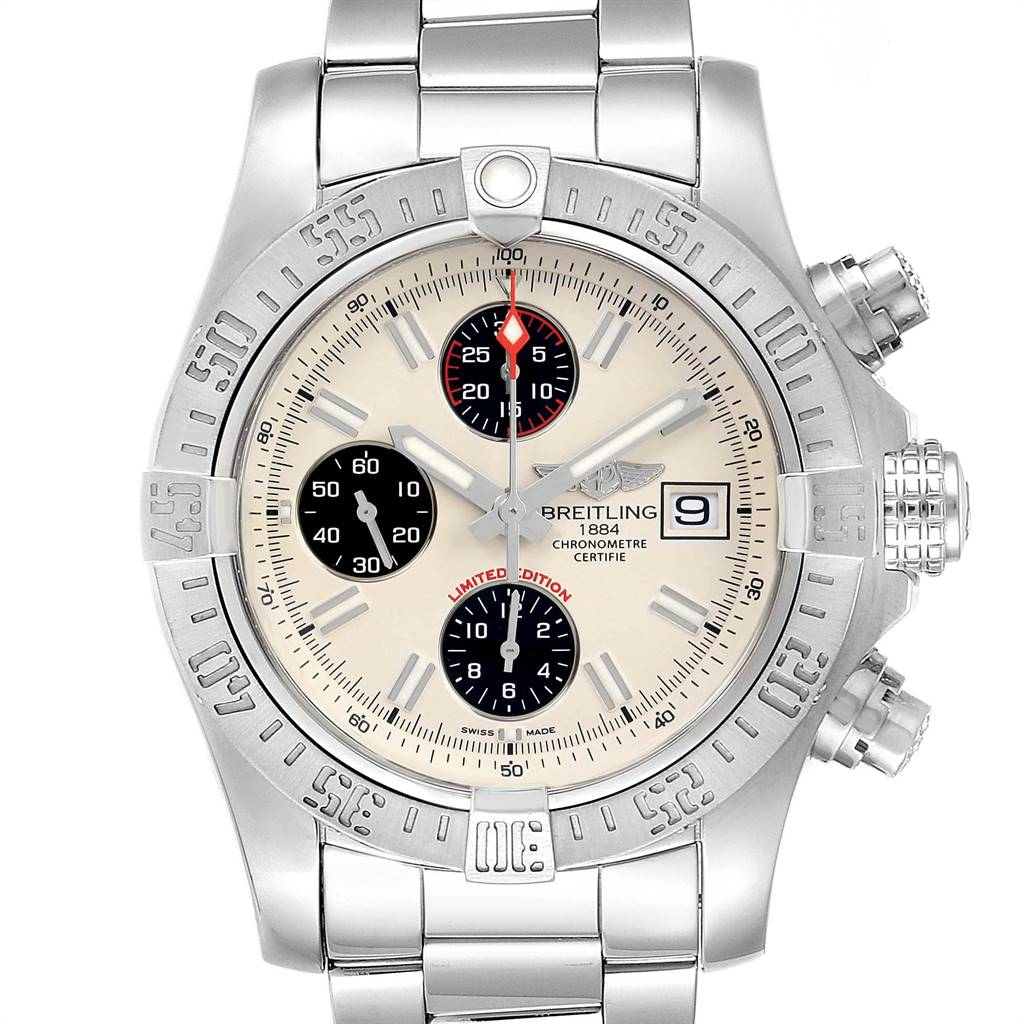 19369 Breitling Avenger II Chronograph Mens Watch A13381 Box Papers SwissWatchExpo
