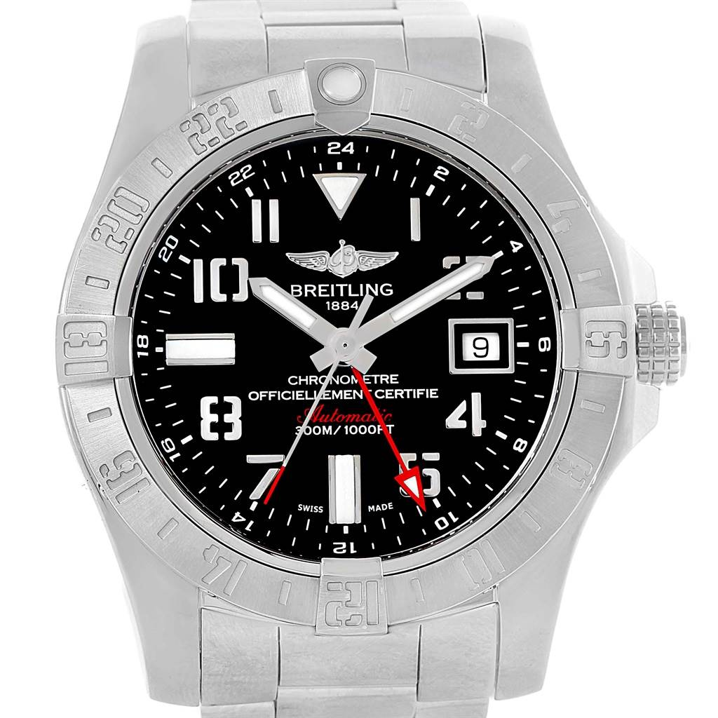 19368 Breitling Aeromarine Avenger II GMT Mens Watch A32390 Box Papers SwissWatchExpo