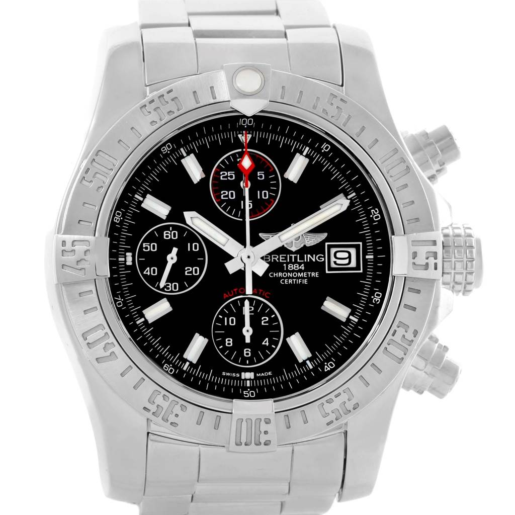 Breitling Avenger II Chronograph Black Dial Watch A13381 Box Papers SwissWatchExpo