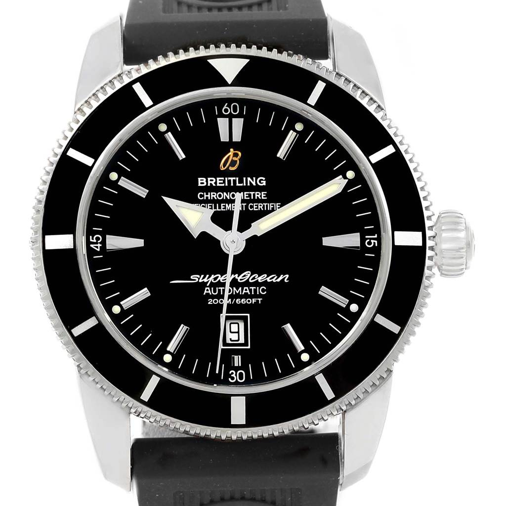 19362 Breitling Superocean Heritage 46 Black Dial Rubber Strap Watch A17320 SwissWatchExpo