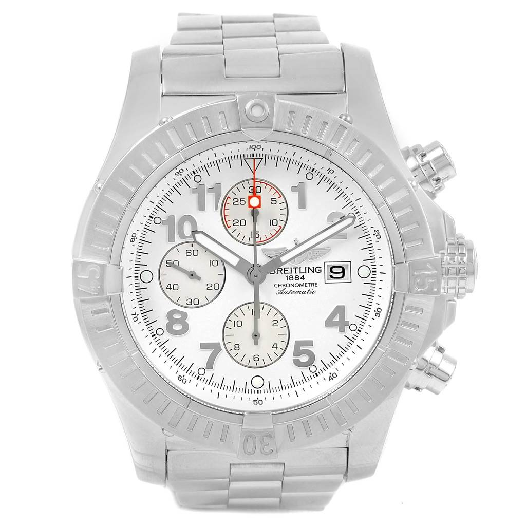 19365 Breitling Aeromarine Super Avenger White Dial Steel Watch A13370 Papers SwissWatchExpo