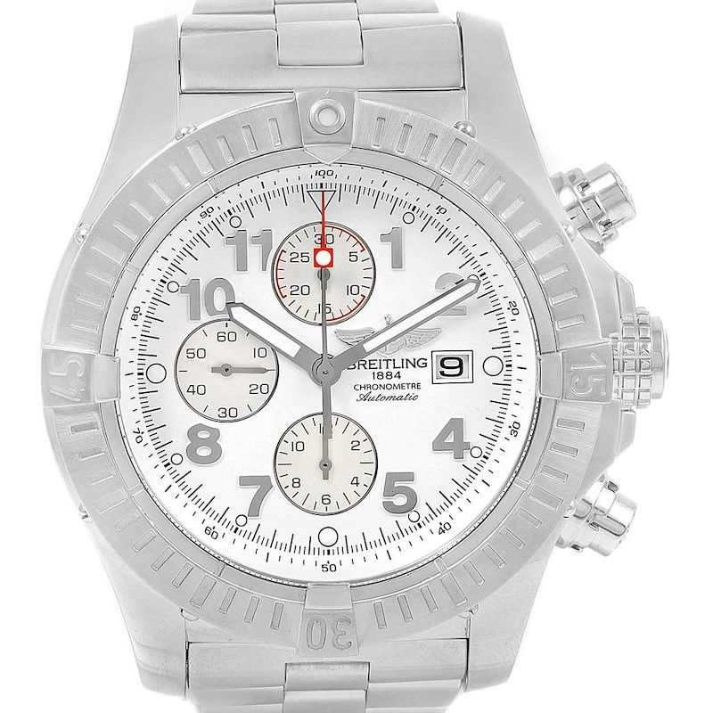Breitling Aeromarine Super Avenger White Dial Steel Watch A13370 Papers SwissWatchExpo