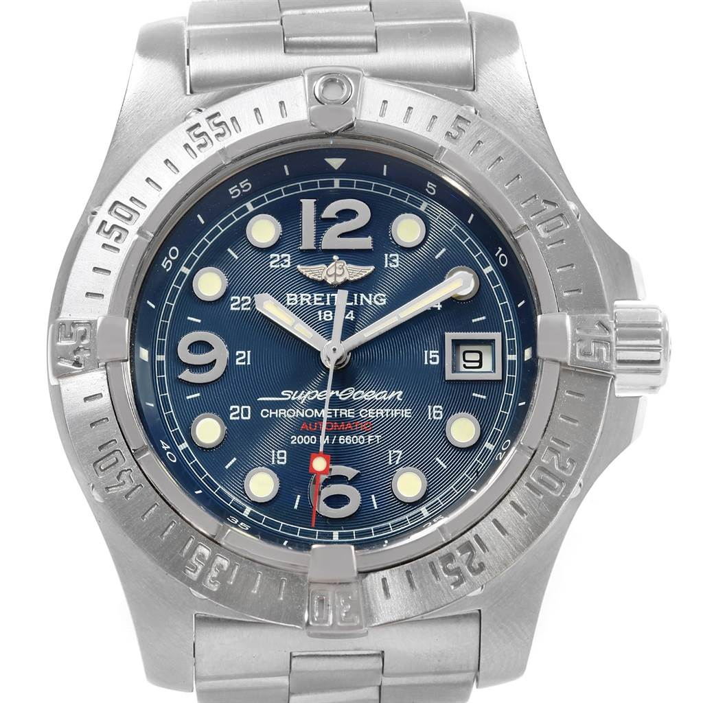 19457 Breitling Superocean Steelfish Blue Dial Watch A17390 Box Papers SwissWatchExpo