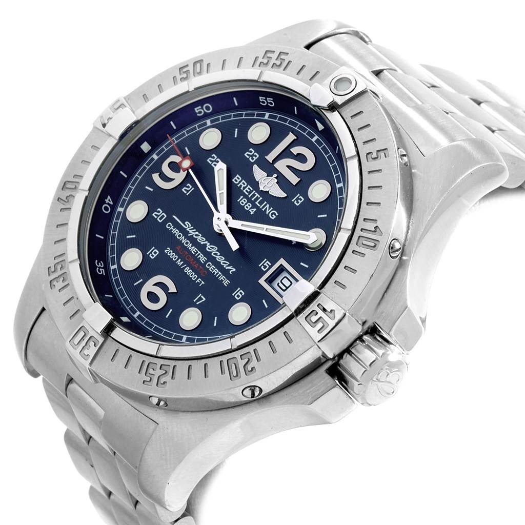 Breitling Superocean Steelfish Blue Dial Watch A17390 Box Papers SwissWatchExpo