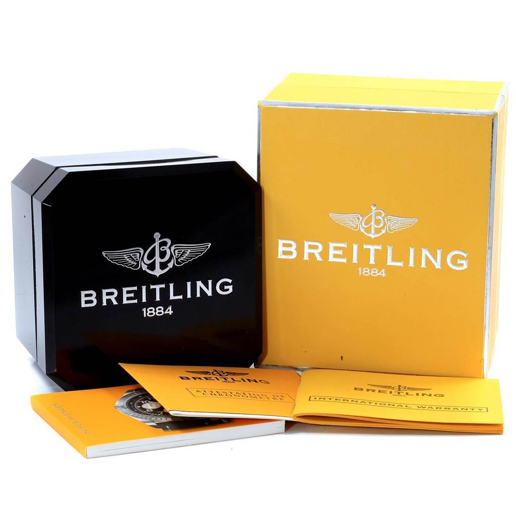 19473 Breitling Aeromarine Super Avenger Black Dial Watch A13370 Box Papers SwissWatchExpo