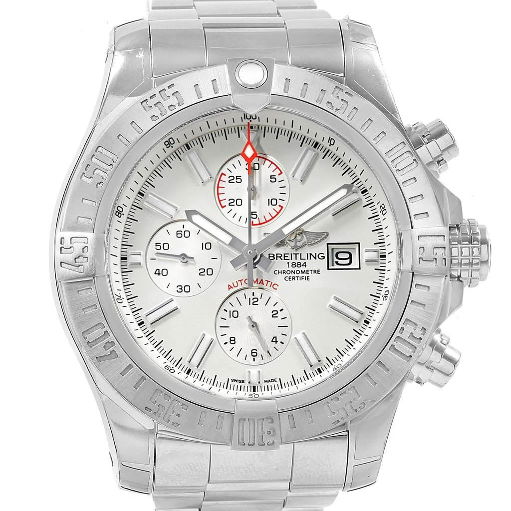 Breitling Aeromarine Super Avenger White Dial Steel Mens Watch A13371 SwissWatchExpo